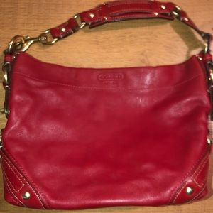 Leather Vintage Coach Purse - Red & Gold
